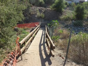 Bridge at the start of the trail at Brengle Terrace Park