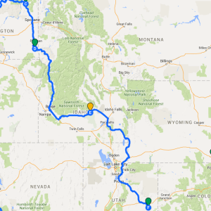 Map with Driving Route highlighted through Washington, Idaho, and Utah